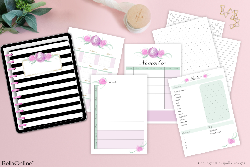 Full Digi Planner PDF Template - Page Side Tabs