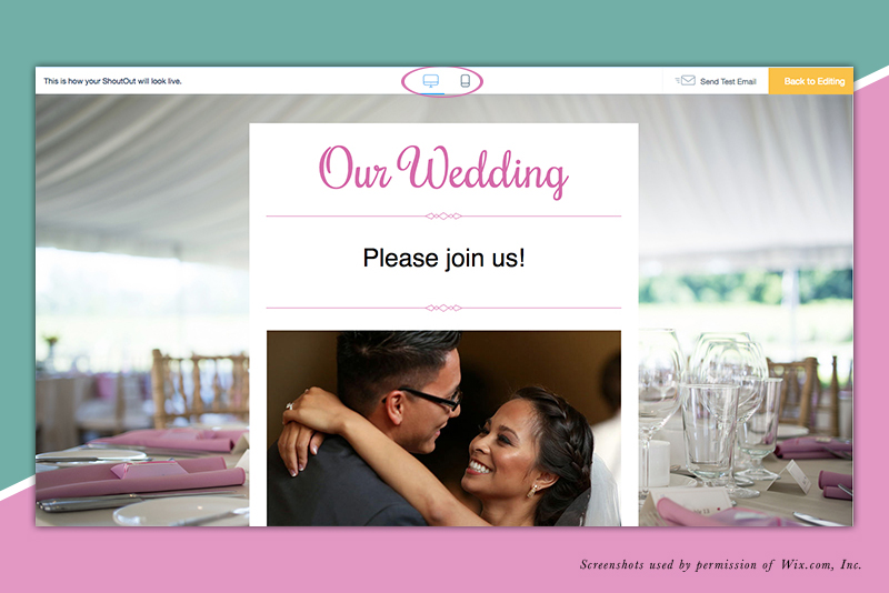 Customize a Wix ShoutOut For Wedding