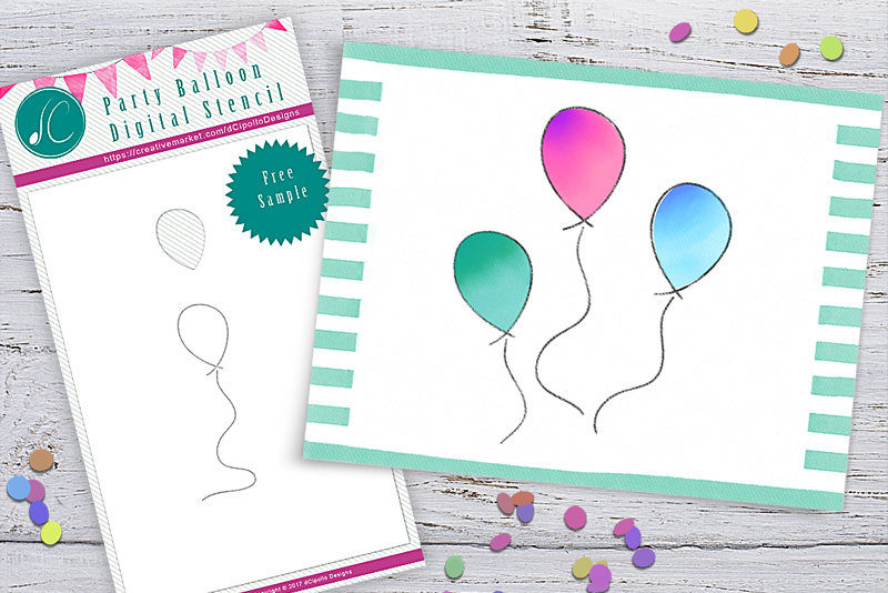 Watercolor Card with Free Rebelle Stencil